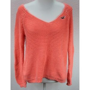 Hollister Coral Sweater Size L Crochet Stretch